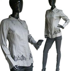 Beautiful Vintage Marisak Gray Silk Shirt Size Sma